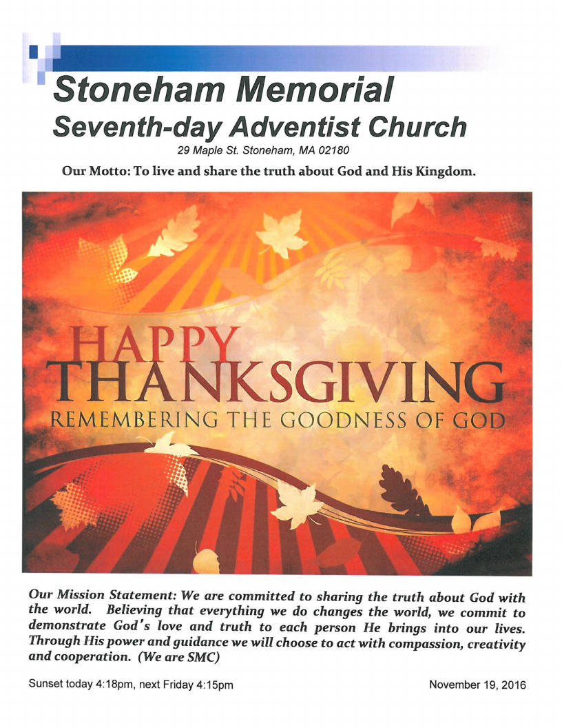 Stoneham Memorial Church Bulletin November 19, 2016