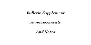 Bulletin For October 14, 2017