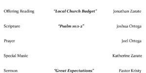 Bulletin For December 5, 2020