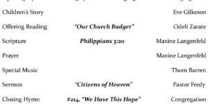 Bulletin For February 20, 2021